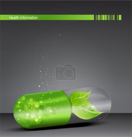 Vector flyer for medical theme with a green pill and leaf