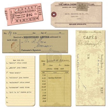 Illustration for Old paper objects - vintage tickets, letters, notes - for design and scrapbook in vector - Royalty Free Image