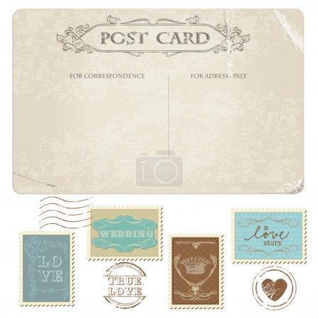 Illustration pour Carte postale vintage et timbres-poste - pour la conception de mariage, invitation, félicitations, album - image libre de droit