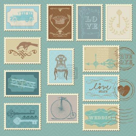 Illustration for Retro Postage Stamps - for wedding design, invitation, congratulation, scrapbook - Royalty Free Image