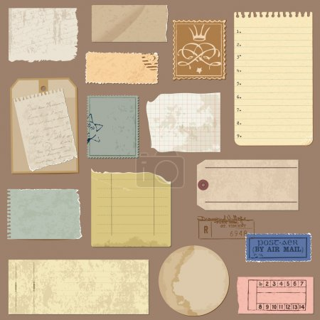 Illustration for Set of Old paper objects - for design and scrapbook in vector - Royalty Free Image