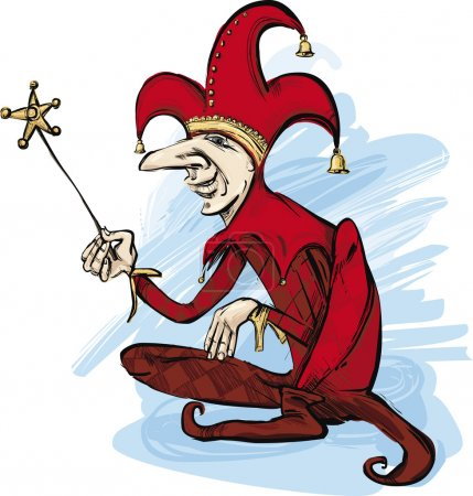 Illustration for Illustration of court jester in red costume - Royalty Free Image