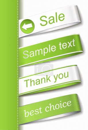 Illustration for Stickers green colour on white background - Royalty Free Image