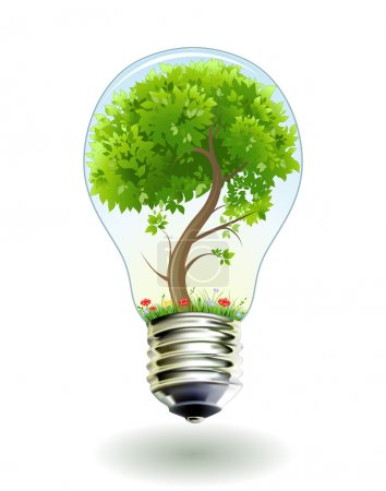 Photo for Green tree in lamp. Vector illustration. 8eps - Royalty Free Image