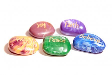 Photo for Five stones inscribed hope joy peace faith and believe - Royalty Free Image