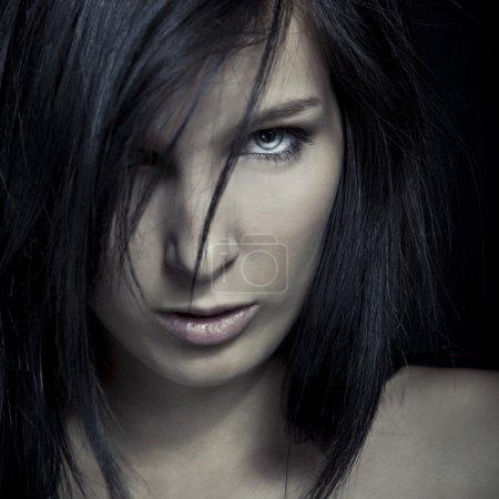 Emotion expression dark girl face - blue eye...