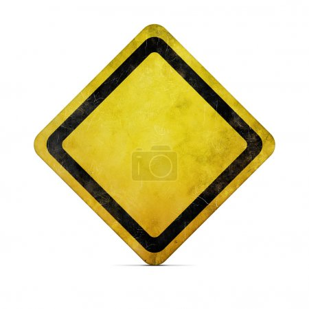 Photo for Grunge empty road sign on white with clipping path - Royalty Free Image