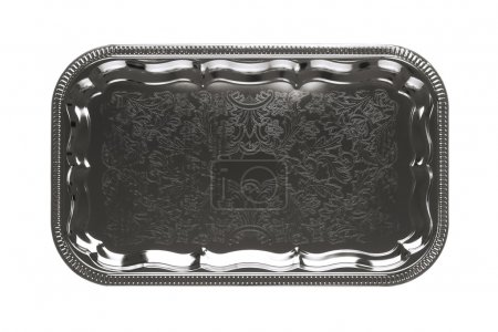 Top view of an silver tray