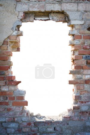 Photo for Brick wall with white hole - Royalty Free Image