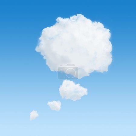 Photo pour Nuage blanc en forme d'une bulle de pensée - image libre de droit