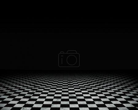 Grunge empty interior with checkered marble floor