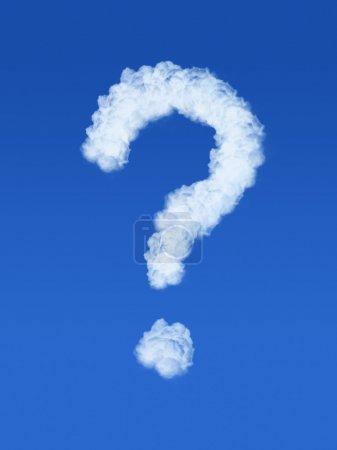 Photo pour Point d'interrogation nuage dans le ciel bleu - image libre de droit
