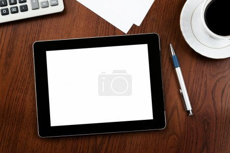 Blank tablet at the desk with clipping path