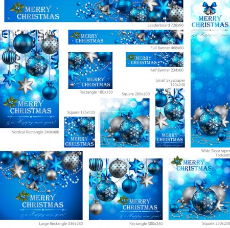 Photo for Collection of Christmas banners with baubles and place for text. Vector illustration. - Royalty Free Image