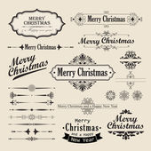Christmas vintage design elements and letterning