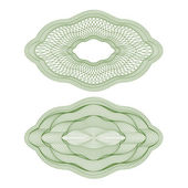 Set of vector oval guilloche rosettes