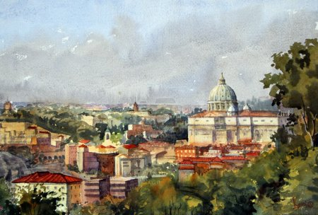 Roman cityscape overlooking the Cathedral of St. Peter and the Vatican