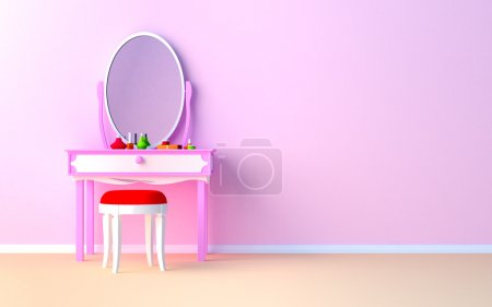 Photo for Pink make up table at the wall in the girl's room. - Royalty Free Image