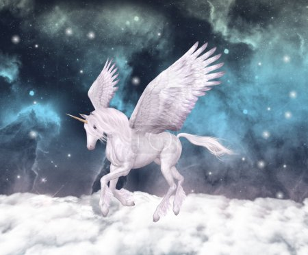 Photo for Wonderful pegasus gallops over the clouds - Royalty Free Image
