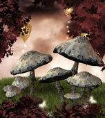 Red autumn with mushrooms