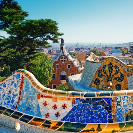 Photo for Park Guell was commissioned by Eusebi Guell and designed by Antonio Gaudi - Royalty Free Image