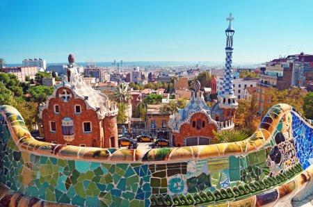 Photo pour Park Guell à Barcelone. Park Guell a été commandé par Eusebi Guell et conçu par Antonio Gaudi. - image libre de droit
