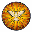 Stained glass depicting the symbol of the Holy Spi...