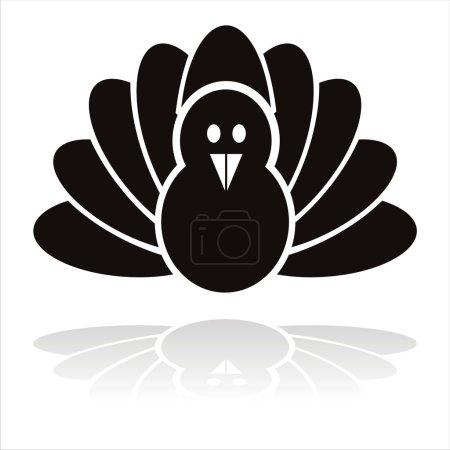 Illustration pour Icône oiseau dinde noire isolée sur blanc - image libre de droit