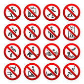 Prohibited signs Set icons