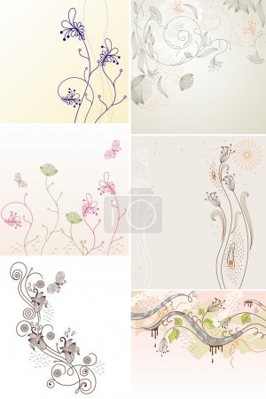 Illustration for Set of flowers background for your text. - Royalty Free Image