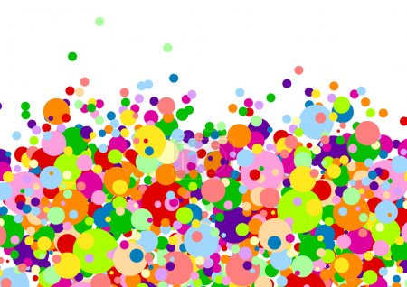 White background with many multicoloured balls