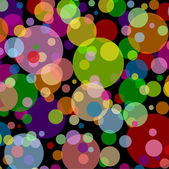 Black square background with multicoloured balls and dots