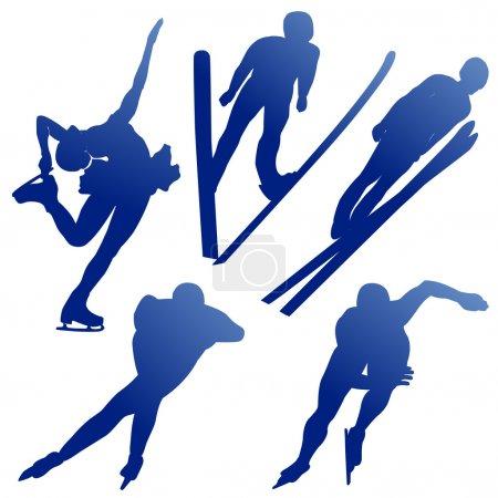 Illustration pour Silhuettes des athlètes de sports d'hiver sur un fond blanc - image libre de droit