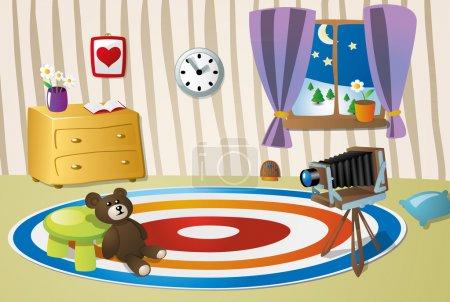 Illustration for Cartoon bright kid`s room - Royalty Free Image