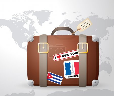 Illustration for Vintage suitcase with stickers - Royalty Free Image