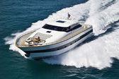 Italy, Tyrrhenian Sea, Tecnomar 26 luxury yacht, aerial view