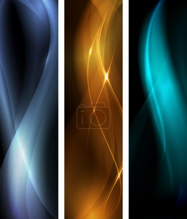 Abstract dark wave banner set