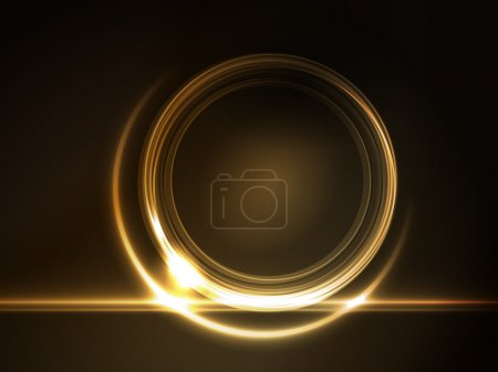 Illustration for Golden light effects on round placeholder for your text on dark brown background. - Royalty Free Image