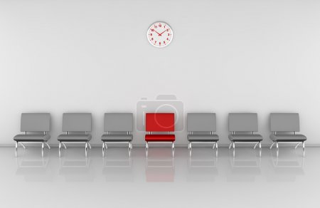 Photo for One waiting room with a row of chairs and one of them in different color (3d render) - Royalty Free Image