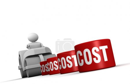 One 3d man with a steamroller crushing costs (3d r...