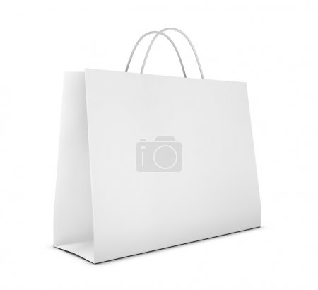 Photo for One classic white shopping bag (3d render) - Royalty Free Image