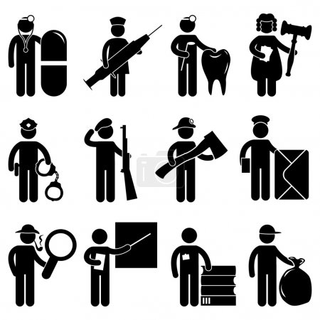 Illustration for A set of government service worker job and occupation in pictogram. - Royalty Free Image