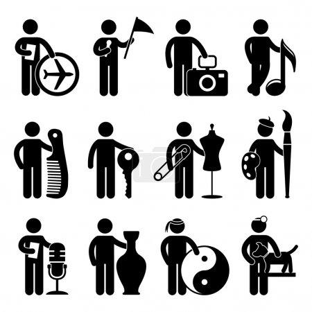 Illustration pour Un ensemble d'emplois et de professions de niche dans le pictogramme . - image libre de droit