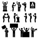 A set of pictogram representing politician, report...