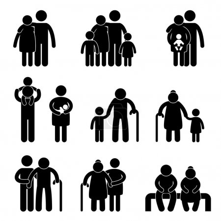 Illustration for A set of pictogram representing family. - Royalty Free Image