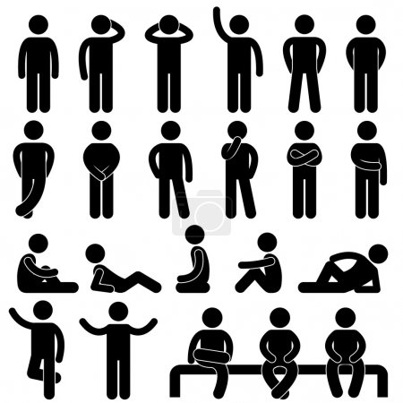 Illustration for A set of pictogram about man basic posture. - Royalty Free Image