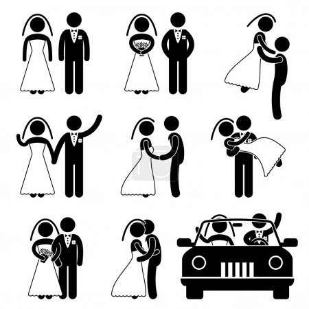 Photo for A set of pictogram about wedding and marriage. - Royalty Free Image
