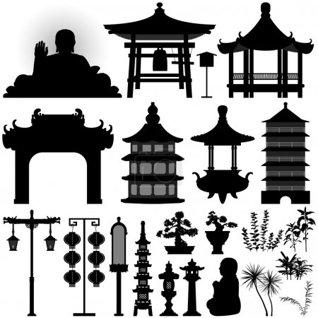 Illustration for A set of Chinese temple design element. - Royalty Free Image