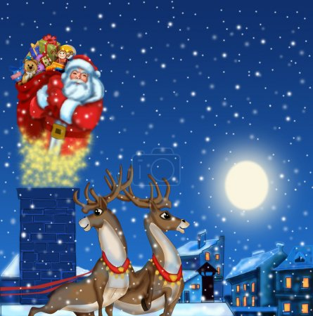 Photo for Illustration of Santa Claus on the roof with gifts - Royalty Free Image