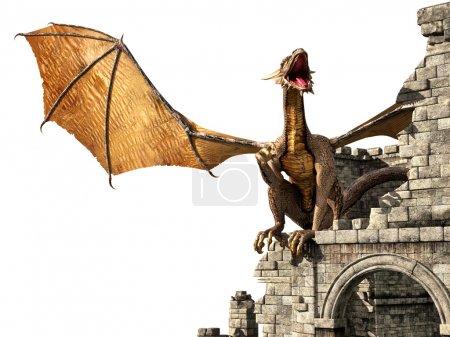 Evil dragon on castle